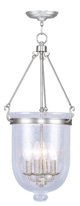 LIVEX Lighting 5085-91 Jefferson Chain Lantern in Brushed Nickel (4 Light)