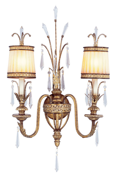 LIVEX Lighting 8802-65 La Bella Wall Sconce with Hand-Painted Vintage Gold Leaves (2 Light)