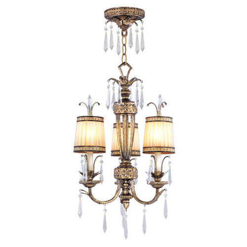 LIVEX Lighting 8803-65 La Bella Convertible Chain Hung/Flushmount with Hand-Painted Vintage Gold Leaves (3 Light)