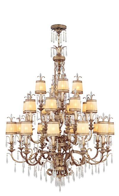 LIVEX Lighting 8815-65 La Bella Chandelier with Hand-Painted Vintage Gold Leaves (22 Light)