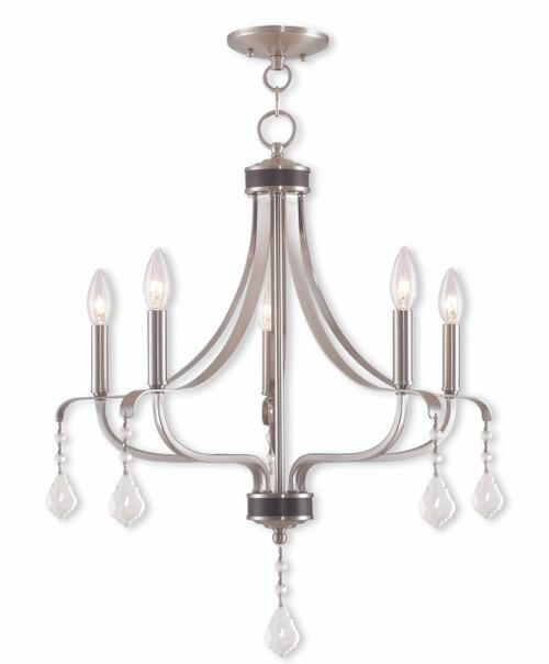 LIVEX Lighting 40785-91 Laurel Chandelier in Brushed Nickel (5 Light)