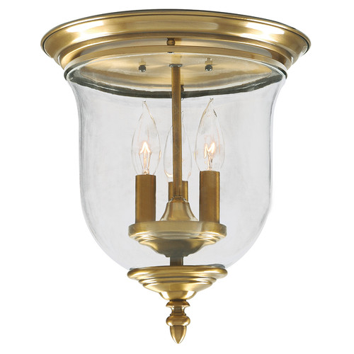 LIVEX Lighting 5021-01 Legacy Flushmount in Antique Brass (3 Light)