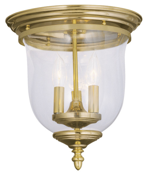 LIVEX Lighting 5021-02 Legacy Flushmount in Polished Brass (3 Light)
