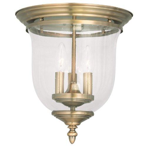 LIVEX Lighting 5024-01 Legacy Flushmount in Antique Brass (3 Light)