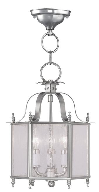 LIVEX Lighting 4397-91 Livingston Convertible Chain Hung/Flushmount in Brushed Nickel (3 Light)