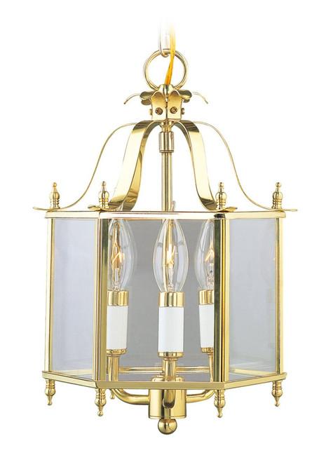 LIVEX Lighting 4403-02 Livingston Convertible Chain Hung/Flushmount in Polished Brass (3 Light)