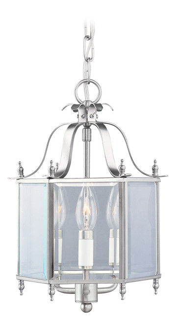 LIVEX Lighting 4403-91 Livingston Convertible Chain Hung/Flushmount in Brushed Nickel (3 Light)