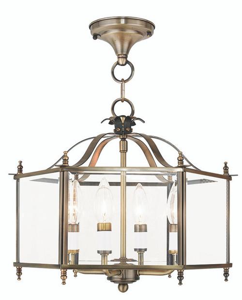 LIVEX Lighting 4398-01 Livingston Convertible Chain Hung/Flushmount in Antique Brass (4 Light)