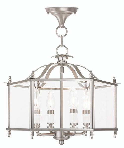 LIVEX Lighting 4398-91 Livingston Convertible Chain Hung/Flushmount in Brushed Nickel (4 Light)