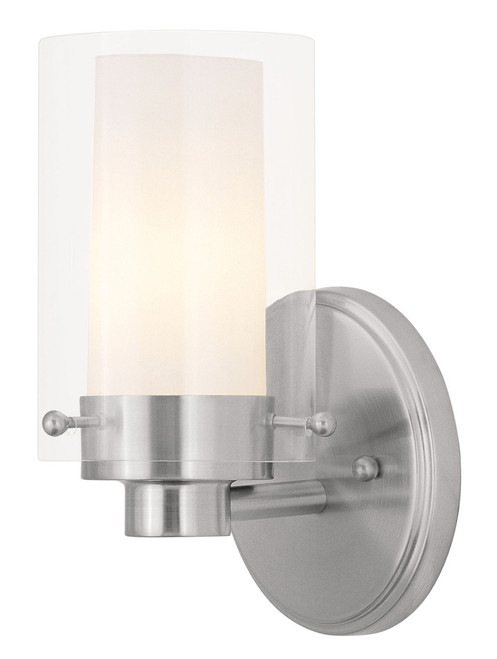 LIVEX Lighting 1541-91 Manhattan Contemporary Bath Light in Brushed Nickel (1 Light)