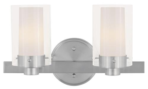 LIVEX Lighting 1542-91 Manhattan Contemporary Bath Light in Brushed Nickel (2 Light)