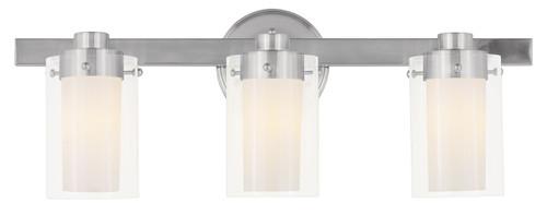 LIVEX Lighting 1543-91 Manhattan Contemporary Bath Light in Brushed Nickel (3 Light)