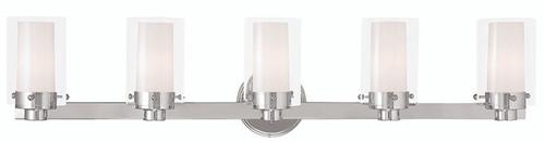LIVEX Lighting 15455-05 Manhattan Contemporary Bath Light in Polished Chrome (5 Light)
