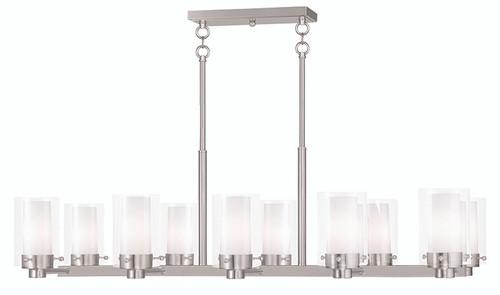 LIVEX Lighting 50679-91 Manhattan Contemporary Chandelier in Brushed Nickel (10 Light)