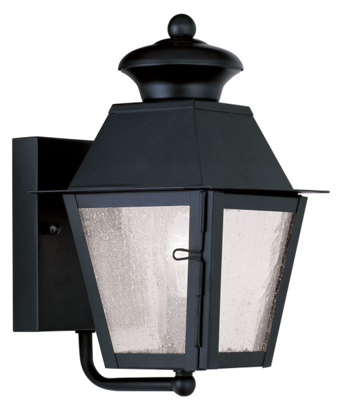 LIVEX Lighting 2160-04 Mansfield Outdoor Wall Lantern in Black (1 Light)