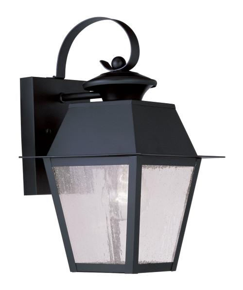 LIVEX Lighting 2162-04 Mansfield Outdoor Wall Lantern in Black (1 Light)