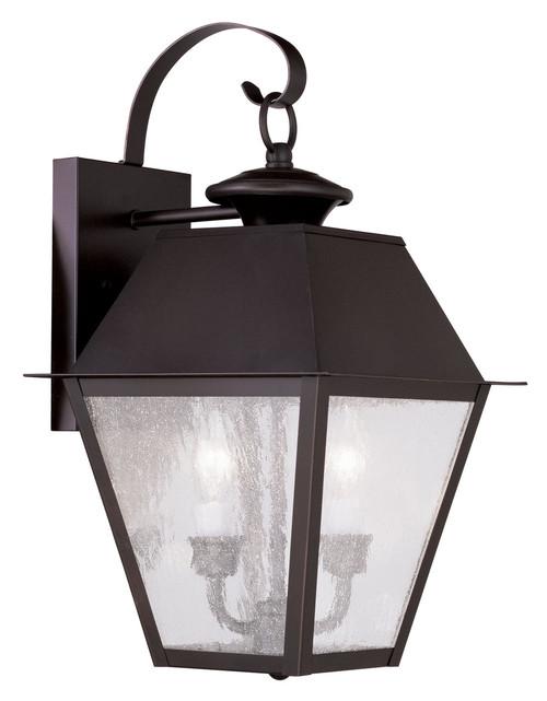 LIVEX Lighting 2165-07 Mansfield Outdoor Wall Lantern in Bronze (2 Light)