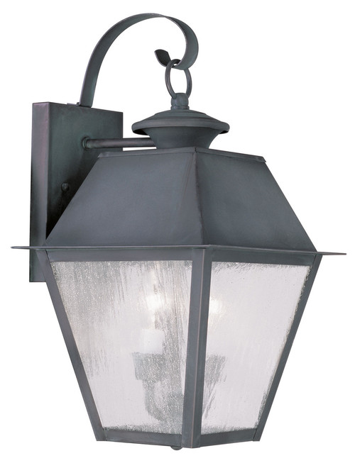 LIVEX Lighting 2165-61 Mansfield Outdoor Wall Lantern in Charcoal (2 Light)