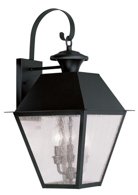 LIVEX Lighting 2168-04 Mansfield Outdoor Wall Lantern in Black (3 Light)
