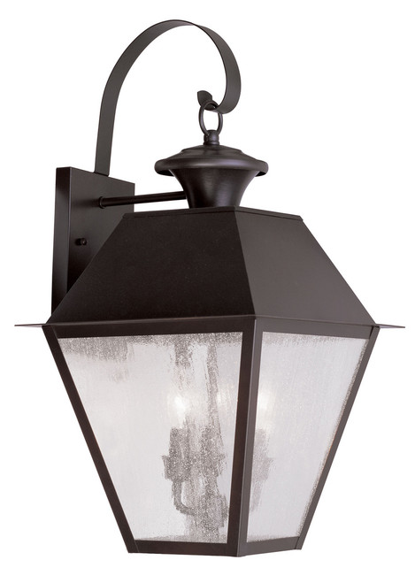 LIVEX Lighting 2168-07 Mansfield Outdoor Wall Lantern in Bronze (3 Light)