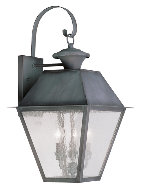 LIVEX Lighting 2168-61 Mansfield Outdoor Wall Lantern in Charcoal (3 Light)