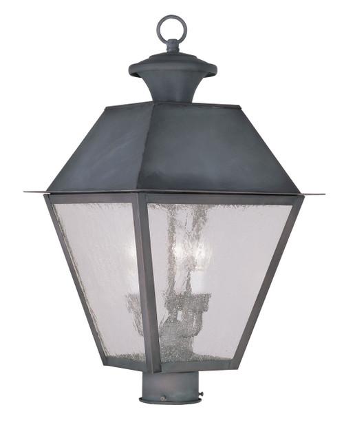 LIVEX Lighting 2169-61 Mansfield Outdoor Post Lantern in Charcoal (3 Light)