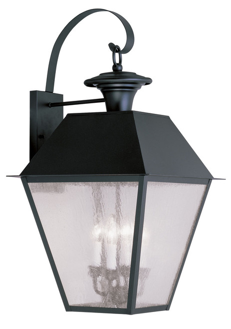 LIVEX Lighting 2172-04 Mansfield Outdoor Wall Lantern in Black (4 Light)