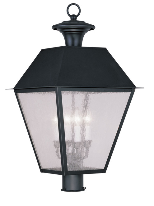 LIVEX Lighting 2173-04 Mansfield Outdoor Post Lantern in Black (4 Light)