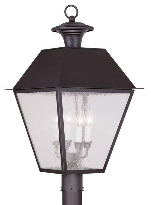 LIVEX Lighting 2173-07 Mansfield Outdoor Post Lantern in Bronze (4 Light)