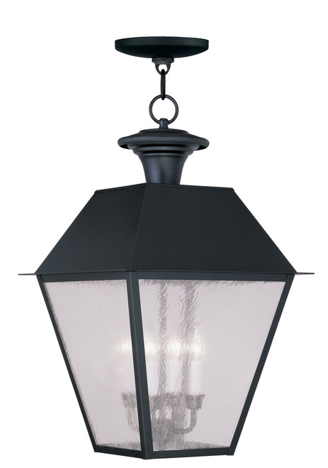 LIVEX Lighting 2174-04 Mansfield Outdoor Chain Lantern in Black (4 Light)