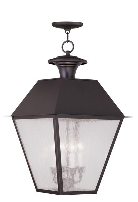 LIVEX Lighting 2174-07 Mansfield Outdoor Chain Lantern in Bronze (4 Light)