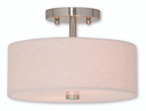 LIVEX Lighting 52133-91 Meridian Flushmount in Brushed Nickel (2 Light)