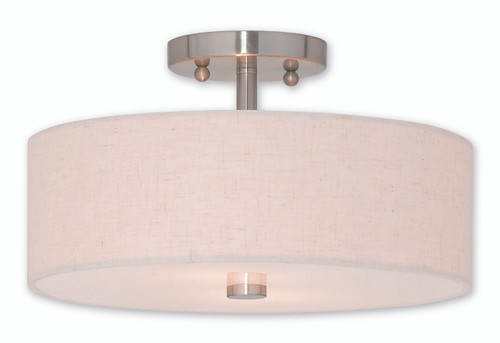 LIVEX Lighting 52134-91 Meridian Flushmount in Brushed Nickel (2 Light)