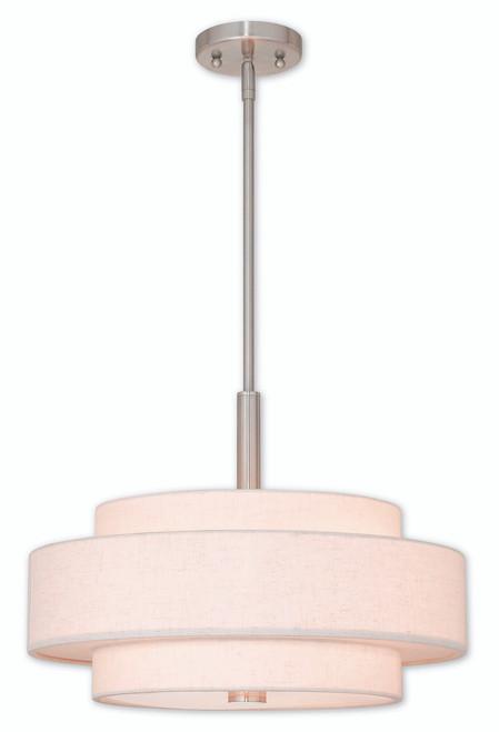 LIVEX Lighting 52137-91 Meridian Pendant in Brushed Nickel (4 Light)