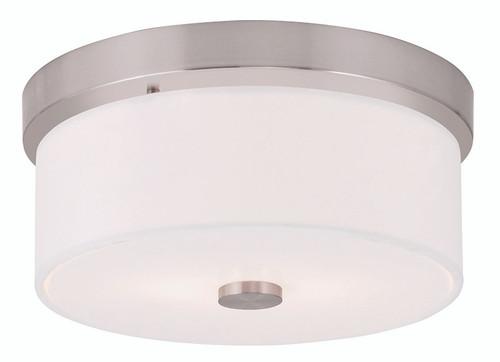 LIVEX Lighting 50862-91 Meridian Flushmount in Brushed Nickel (2 Light)