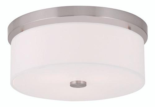 LIVEX Lighting 50863-91 Meridian Flushmount in Brushed Nickel (2 Light)