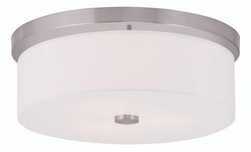 LIVEX Lighting 50864-91 Meridian Flushmount in Brushed Nickel (3 Light)