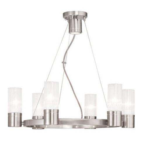 LIVEX Lighting 50696-91 Midtown Contemporary Chandelier in Brushed Nickel (6 Light)