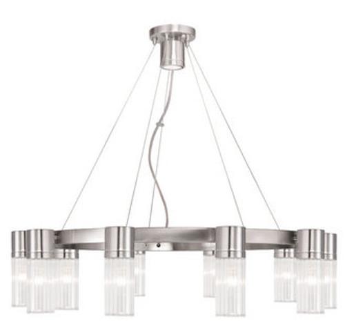 LIVEX Lighting 50699-91 Midtown Contemporary Chandelier in Brushed Nickel (10 Light)