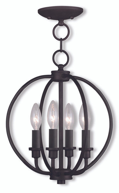 LIVEX Lighting 4664-07 Milania Convertible Chain Lantern/Flushmount in Bronze (4 Light)