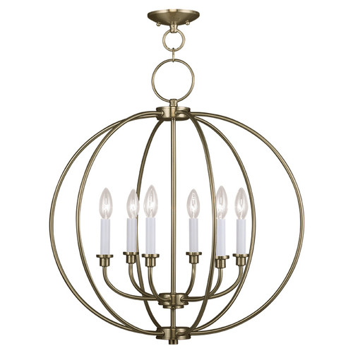LIVEX Lighting 4666-01 Milania Chandelier in Antique Brass (6 Light)