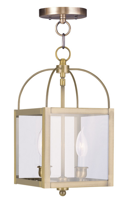 LIVEX Lighting 4041-01 Milford Convertible Chain Hung/Flushmount in Antique Brass (2 Light)