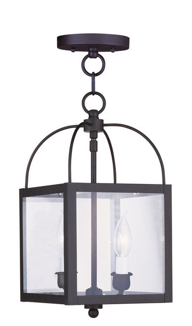 LIVEX Lighting 4041-04 Milford Convertible Chain Hung/Flushmount in Black (2 Light)