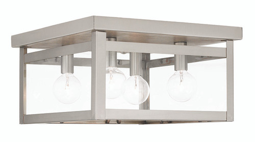 LIVEX Lighting 4032-91 Milford Flushmount in Brushed Nickel (4 Light)