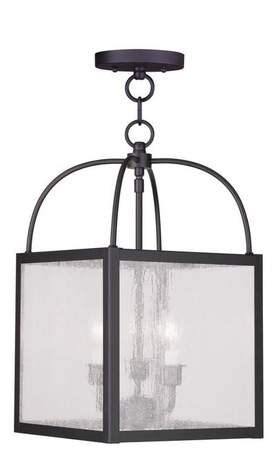 LIVEX Lighting 4055-07 Milford Convertible Chain Hung/Flushmount in Bronze (3 Light)