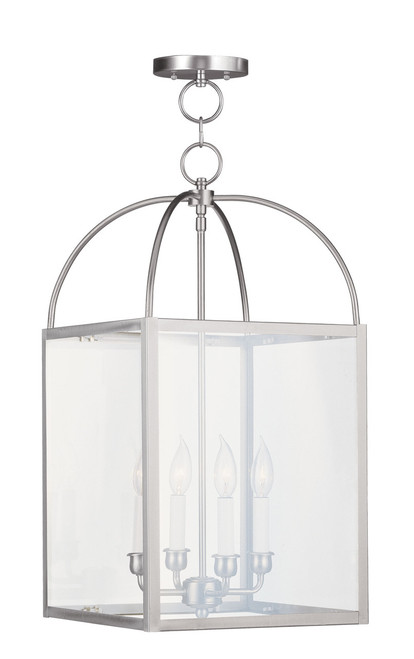 LIVEX Lighting 4042-91 Milford Chain Lantern in Brushed Nickel (4 Light)