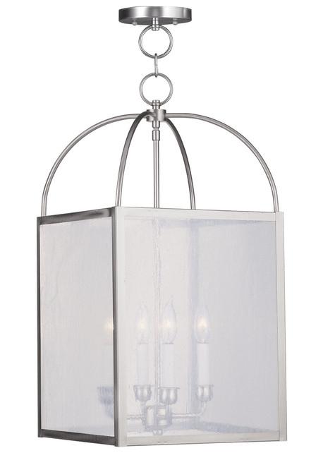 LIVEX Lighting 4046-91 Milford Chain Lantern in Brushed Nickel (4 Light)