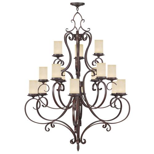 LIVEX Lighting 5497-58 Millburn Manor Chandelier in Imperial Bronze (15 Light)