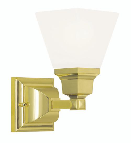 LIVEX Lighting 1031-02 Mission Bath Light in Polished Brass (1 Light)
