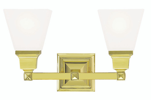 LIVEX Lighting 1032-02 Mission Bath Light in Polished Brass (2 Light)